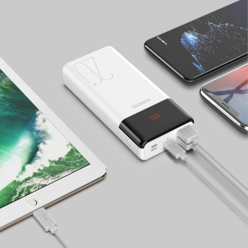 Romoss LT20PS+ 20000mAh Input: Type-C|Lightning|Micro USD|Output: Type-C|2 x USB Power Bank - White