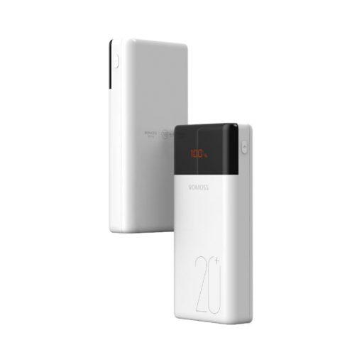 Romoss LT20PS+ 20000mAh Input: Type-C|Lightning|Micro USD|Output: Type-C|2 x USB Power Bank - White
