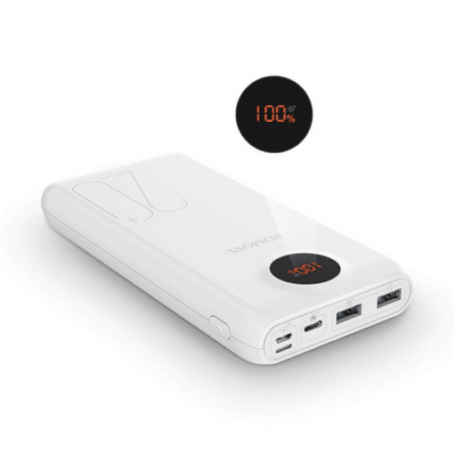 Romoss SW20 Pro 20000mAh Input: QC3.0 Type C|Lightning|Micro USB|Output:2 x USB Power Bank - White